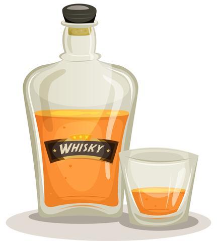 Whisky fles en glas