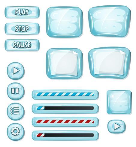 Tecknade Icy Elements för Ui Game