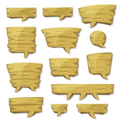 Bolhas do discurso de madeira dos desenhos animados para o jogo de interface do usuário