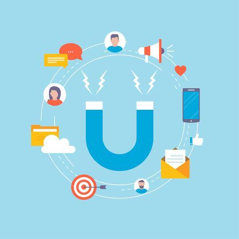 Doelmarkt concept illustratie ontwerp voor webbanners en apps