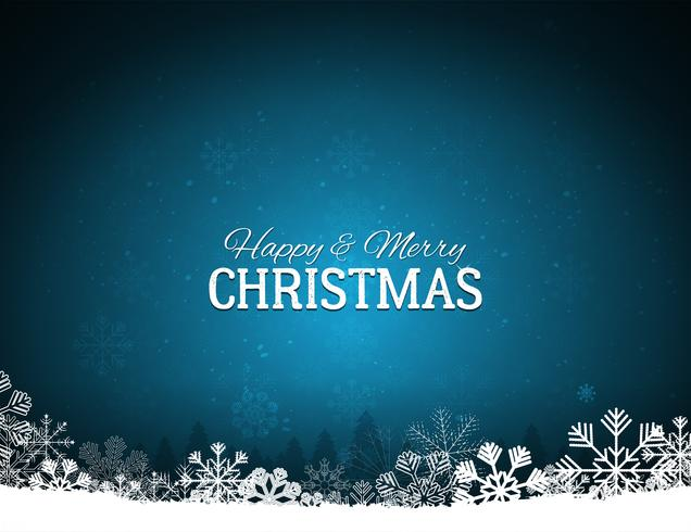 Blue Merry Christmas Background With Snowflakes vector