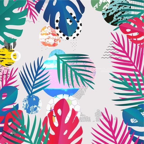 La giungla tropicale lascia la priorità bassa. Design colorato poster tropicale