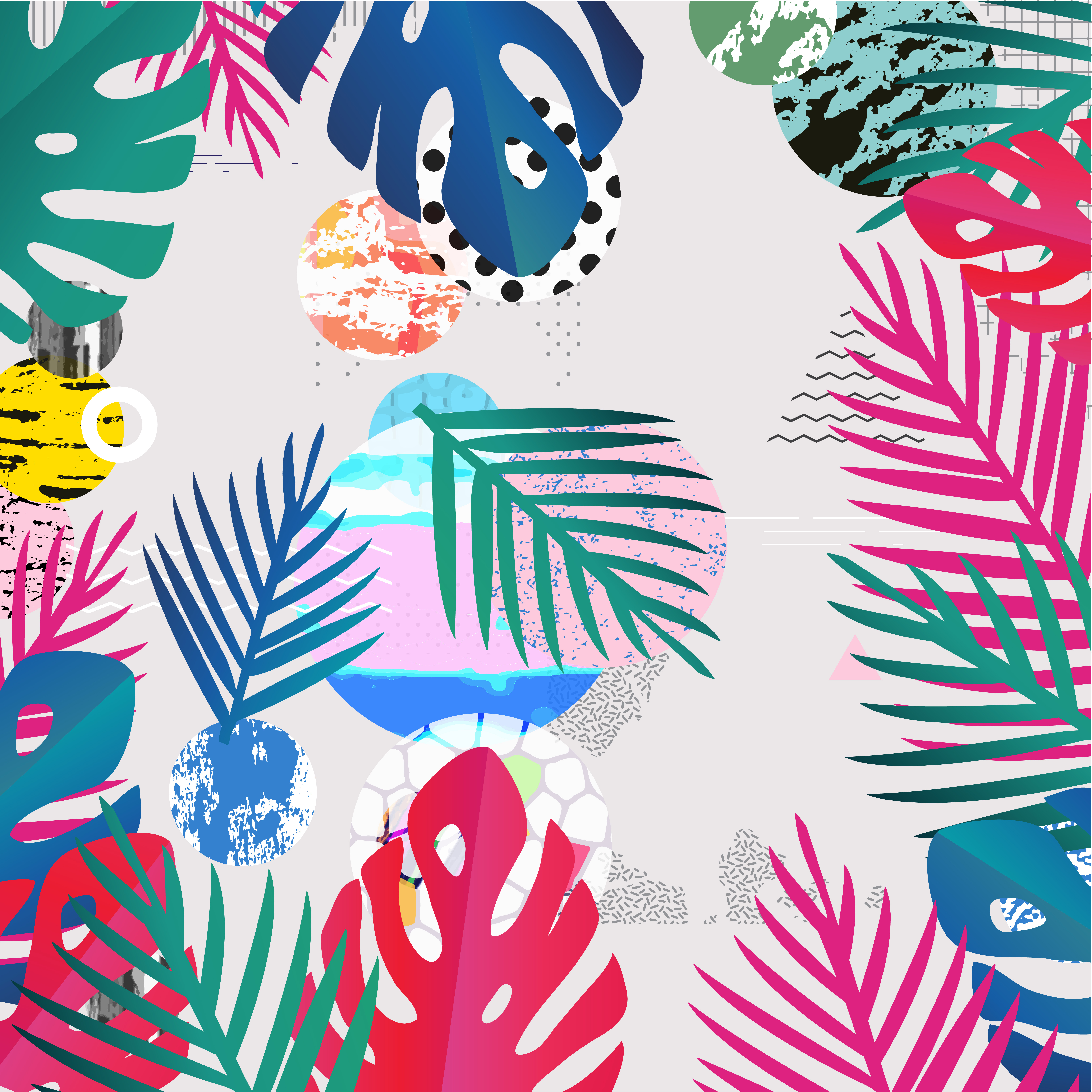Tropical Foliage Background:  Tropical Jungle Leaves Background . Colorful Tropical