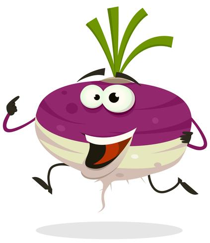 Dibujos animados feliz Turnip personaje corriendo
