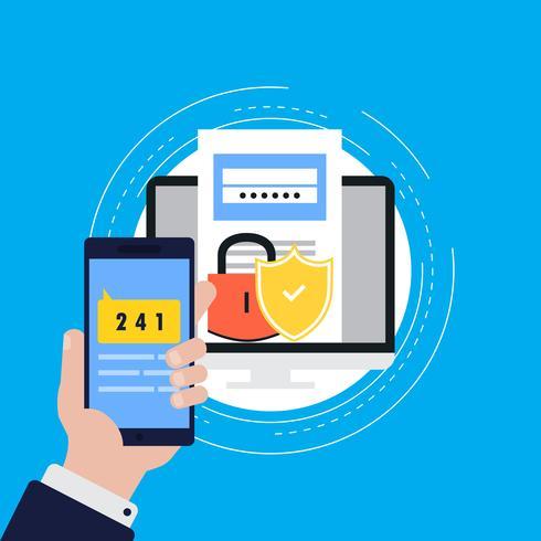 Smartphone verification process flat vector illustration