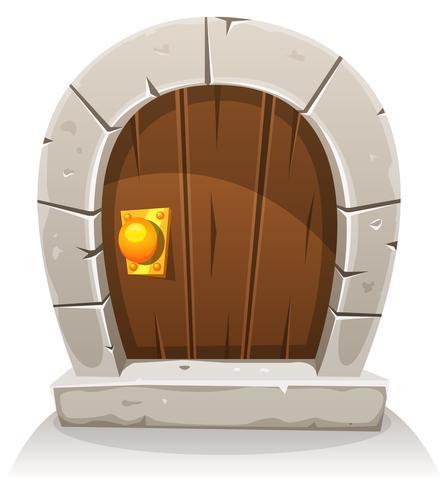 Porta de Hobbit de madeira e pedra dos desenhos animados