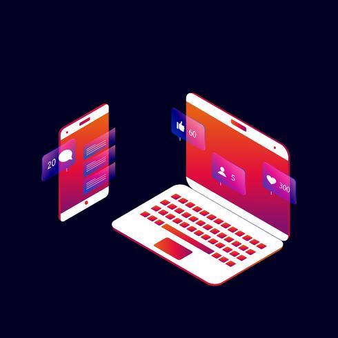 Progettazione isometrica dell'illustrazione di vettore 3d della rete sociale e di media sociali