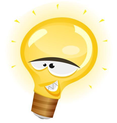 Happy Light Bulb Character