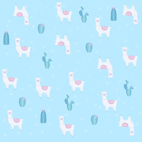 Lama ou alpaca com cacto sem costura padrão ilustração vetorial de fundo