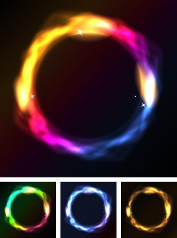 Abstrakta neoncirklar eller galaxring vektor