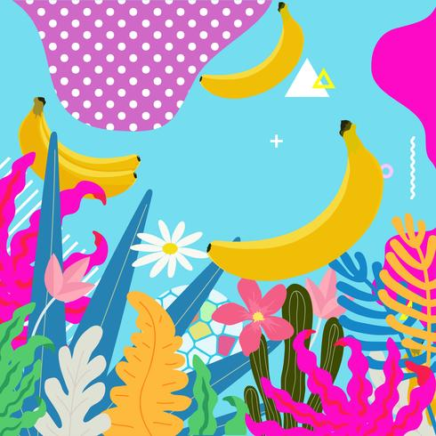 La selva tropical sale del fondo. Diseño de cartel de flores tropicales. vector