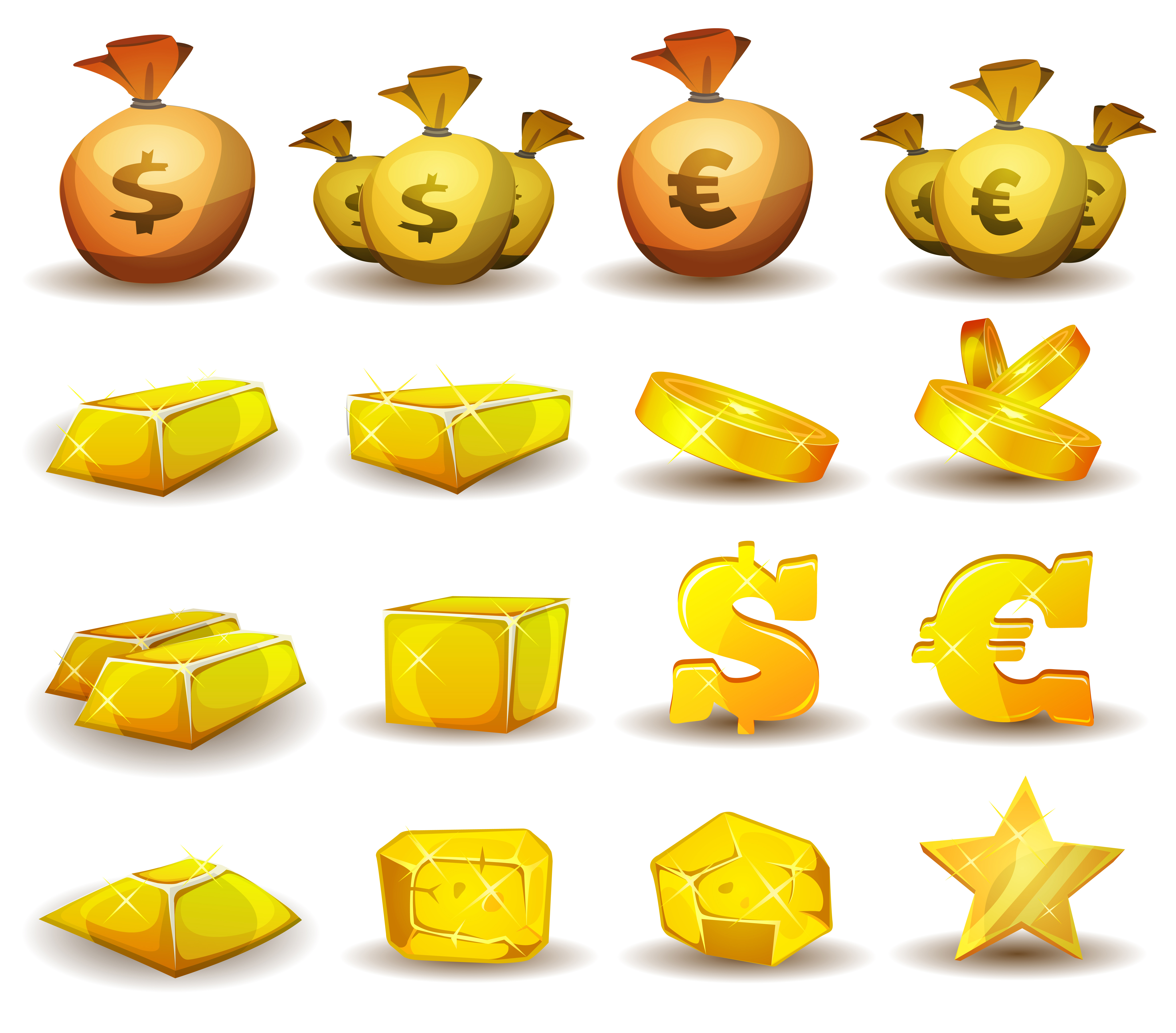 Credit Coin: Gold Credit, Money, Coins Set For Game Interface