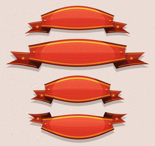 Comic Red Circus Banners And Ribbons vector