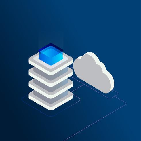 Digital data storage isometric 3d concept vector illustration