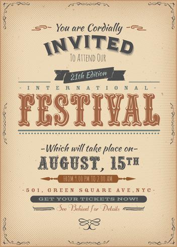 Cartaz do convite do festival do vintage
