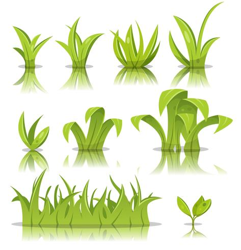 Leaves, Grass And Lawn Set vector
