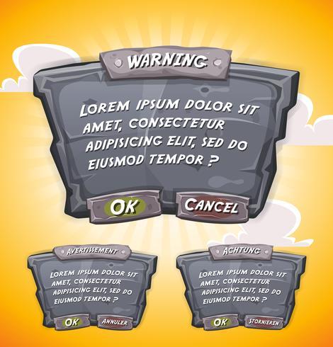 Painel de acordo de pedra dos desenhos animados para jogo de interface do usuário