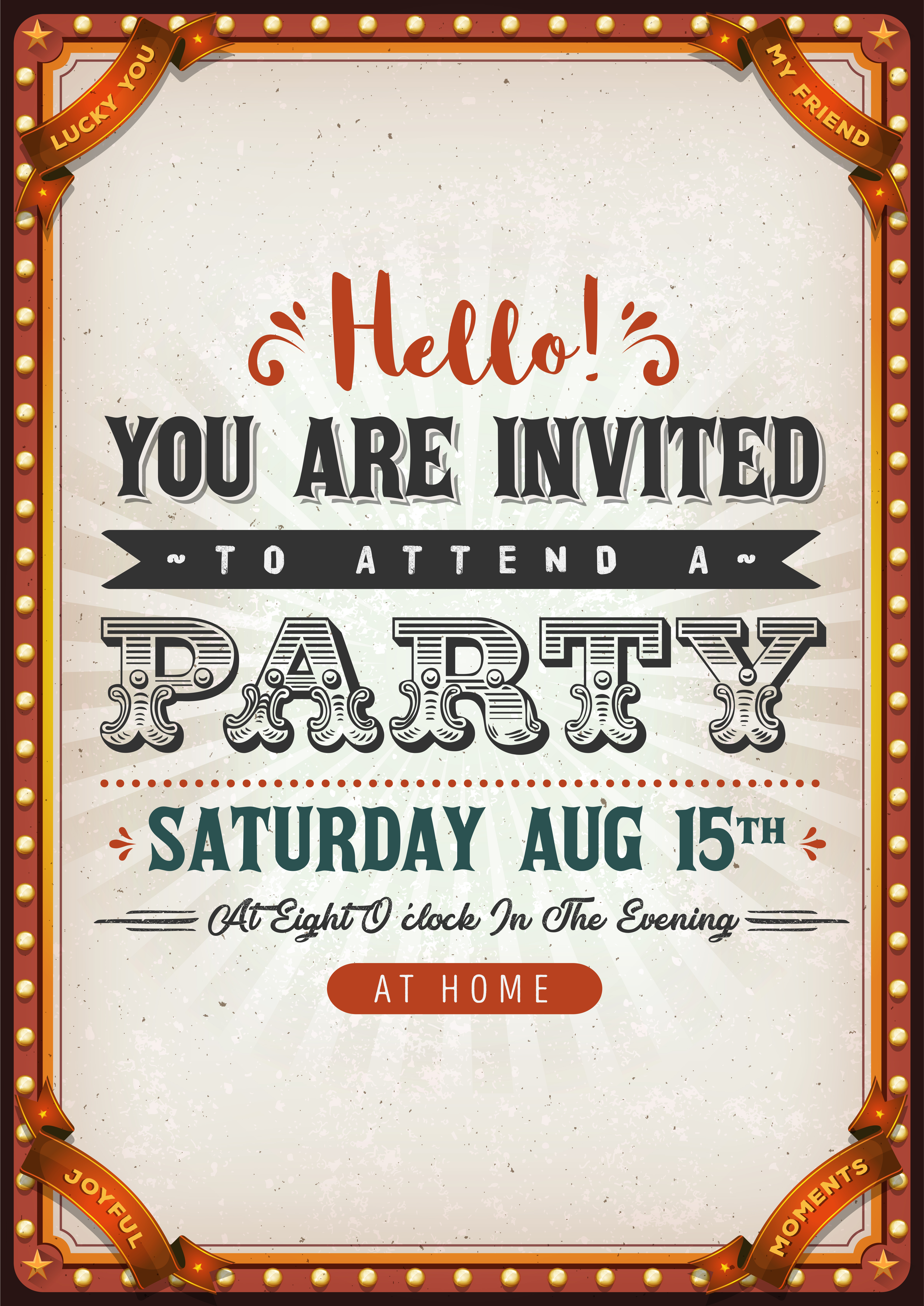 vintage party invitation card  download free vectors