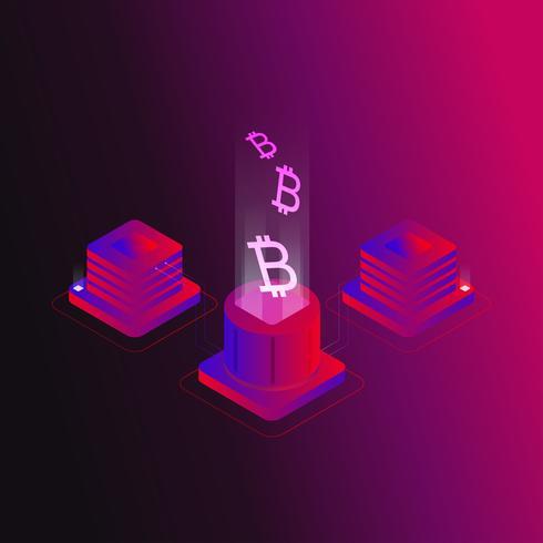 Bitcoin isometric concept vector illustration