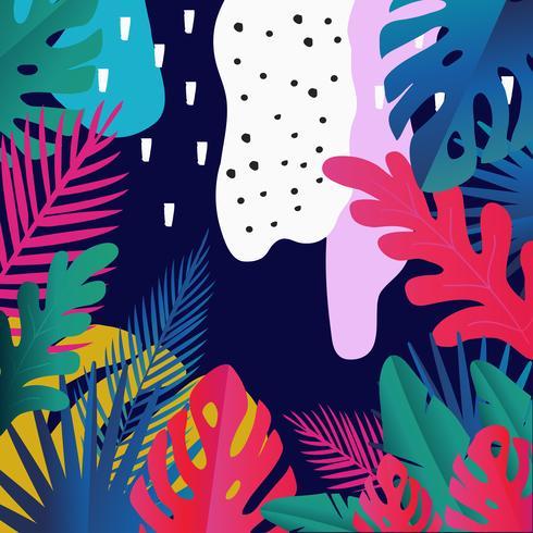 La selva tropical sale del fondo. Diseño colorido cartel tropical