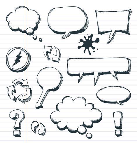 Pijlen, tekstballonnen en Doodle elementen instellen vector