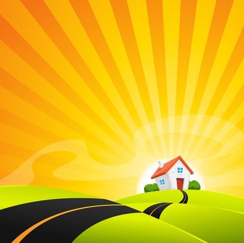 Kleines Haus in der Sommer-Sonnenaufgang-Landschaft