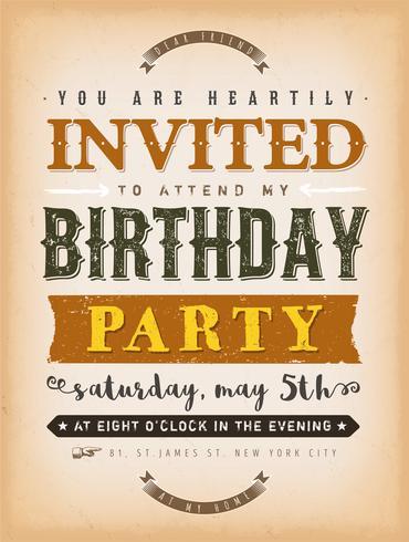 Invitación del vintage a una tarjeta del partido