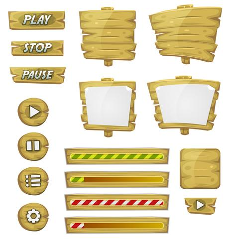 Cartoon Wood Elements For Ui Game