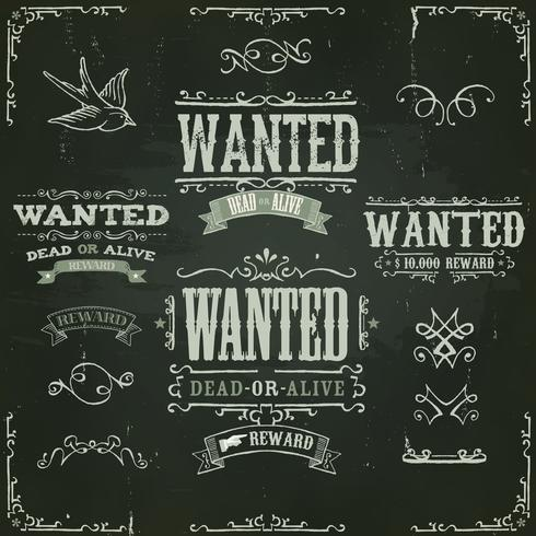 Wanted Vintage Western Banners On Chalkboard vector