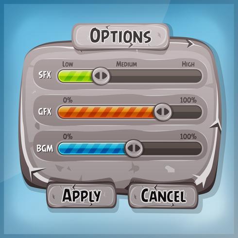 Painel de controle de pedra dos desenhos animados para o jogo de interface do usuário