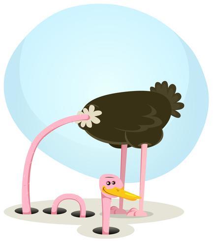 Struisvogel die en van Gat verbergt kijkt