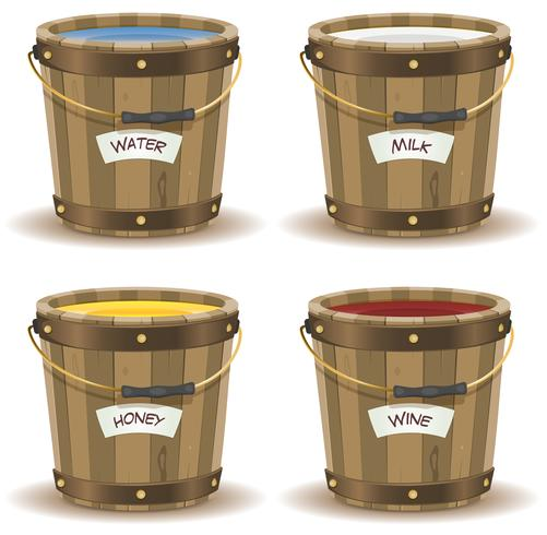 Water, Milk, Honey And Wine Inside Wood Bucket vector