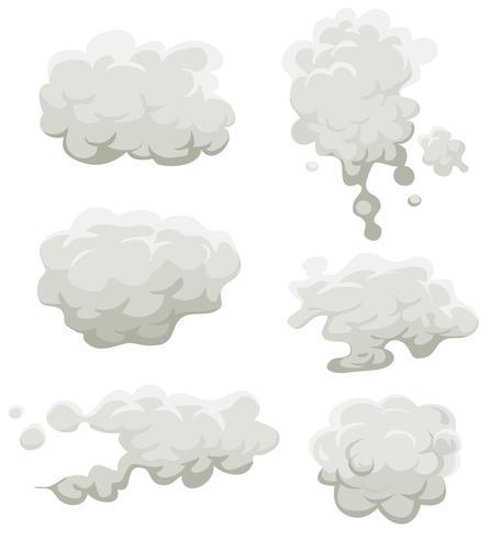 Ensemble fumée, brouillard et nuages vecteur