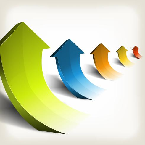 Éxito de negocios en aumento de flechas