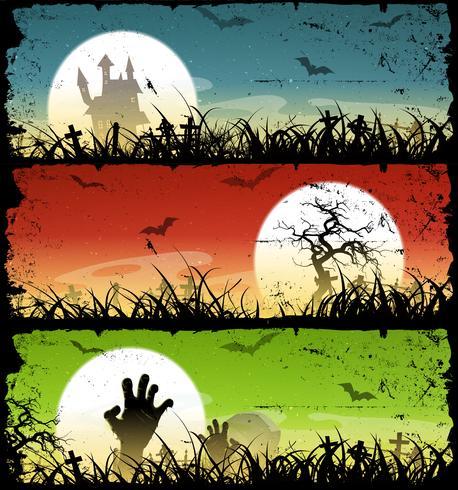 Halloween Backgrounds Set vector