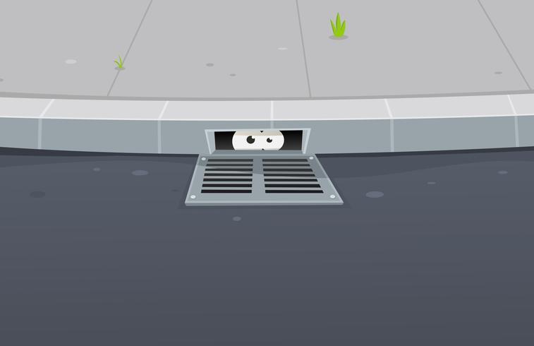 Ojos que están espiando dentro del pavimento vector