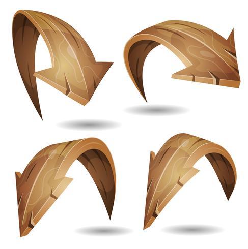 Dibujos animados flechas de madera conjunto de signos