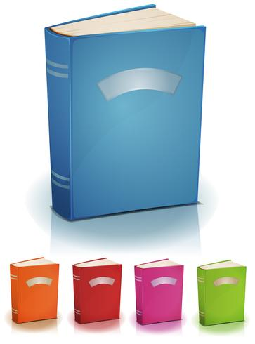 Ställ av stående böcker med etikett vektor