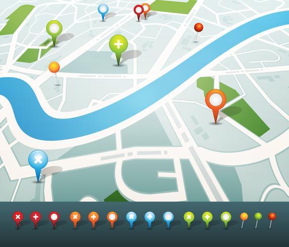 Mapa de rua com ícones de pinos de GPS