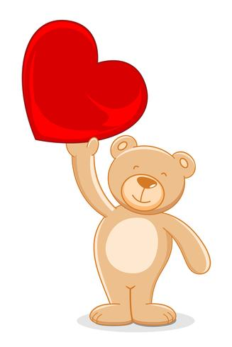 blygsam björn som håller hjärta