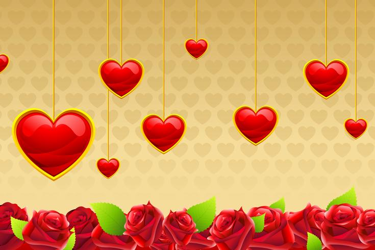 Valentine Card with Hanging Hearts vector