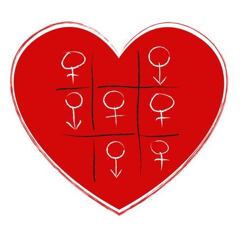 Juego de tic tac toe con sex symbol vector