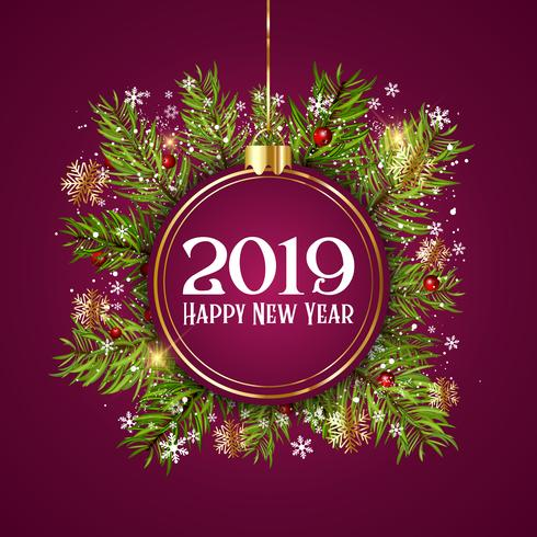happy new year background with hanging bauble on fir tree branch