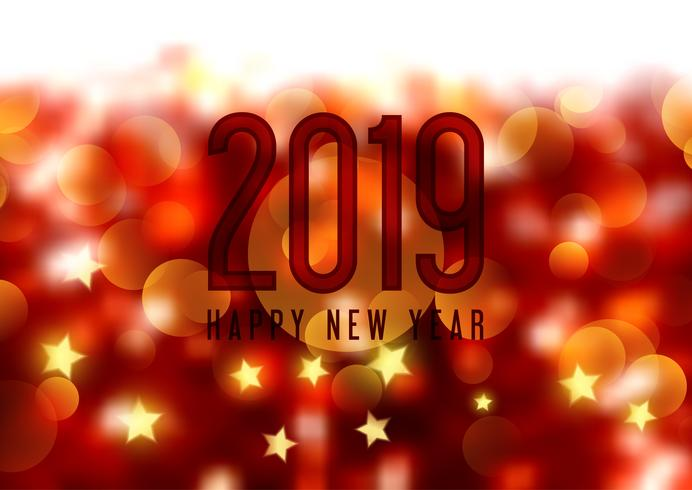 Felice anno nuovo sfondo con bokeh luci e stelle vettore