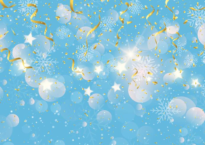 Christmas background with gold streamers confetti and snowflakes vector