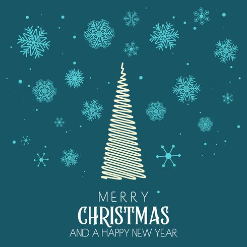 Christmas background with tree and snowflake design vector