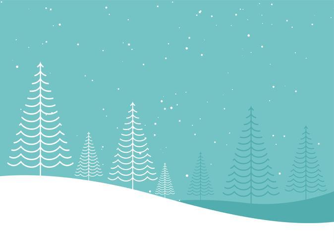 diseño creativo del paisaje del árbol de navidad del invierno mínimo