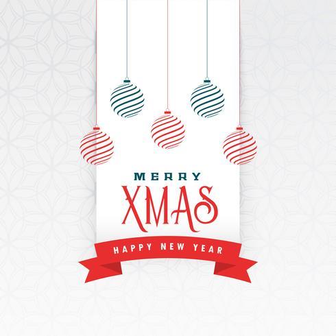 Saludo navideño con decoración de bolas colgantes.