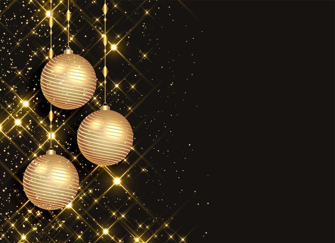 boules de Noël étincelantes sur fond noir