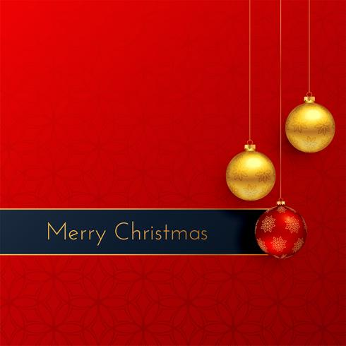 lovely red merry christmas greeting background